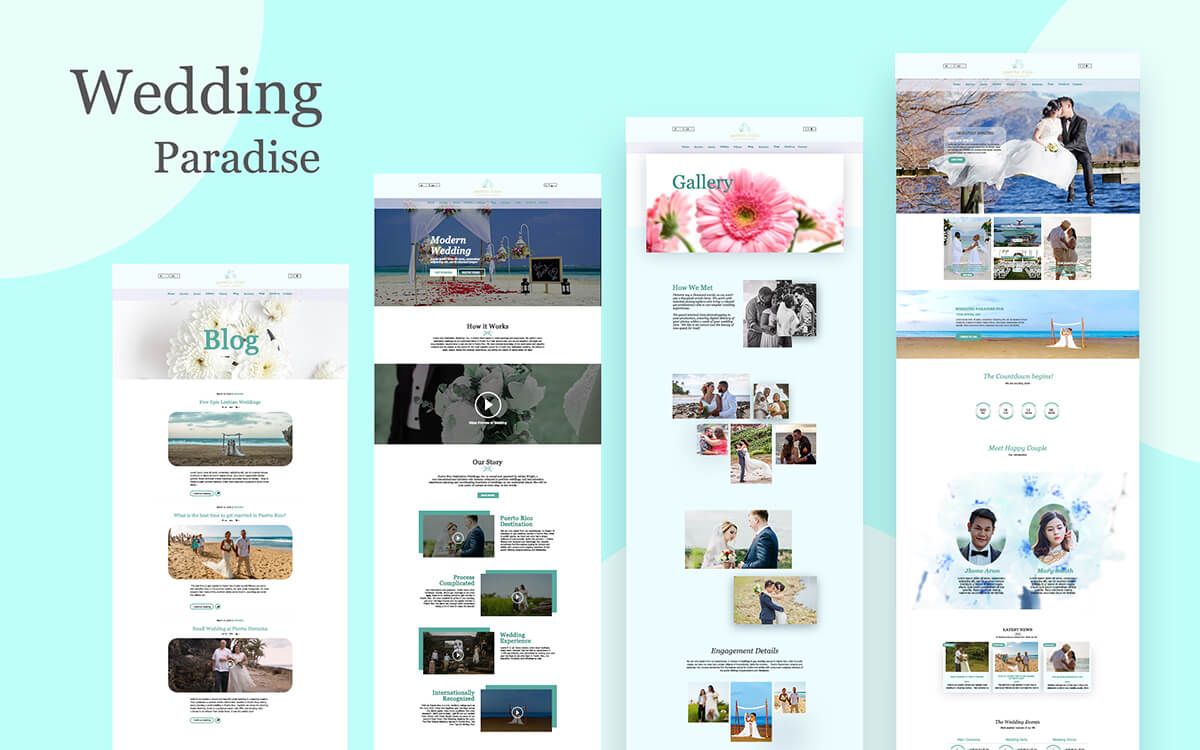 Design a WordPress website for a Wedding Company in Paradise